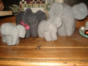 a herd of felted elephants